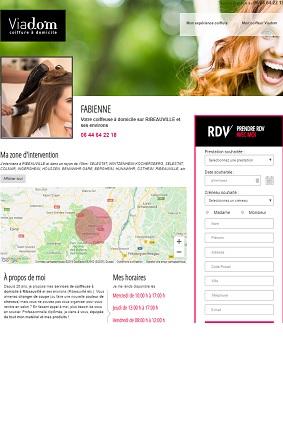aperçu mini site web Viadom pour les coiffeuses à domicile